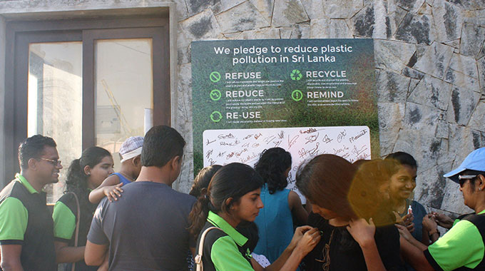 "Green ""Plasticcycle"" Ribbon Campaign At Crow Island Beach Park"